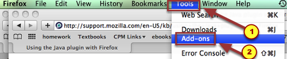 "2a. To enable Java, select ""Tools"" --> ""Add-ons"" from the Firefox menu bar."
