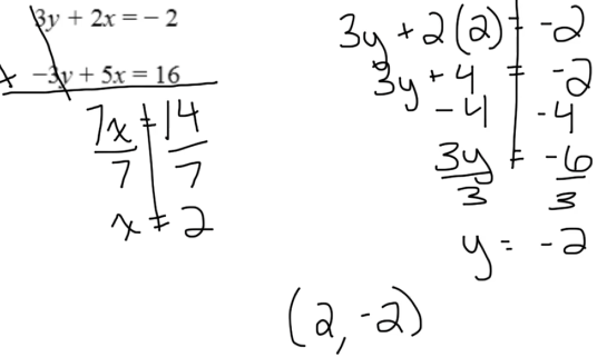 Part 1: When adding the two equations one variable is eliminated.