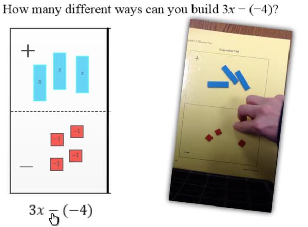 Algebra Tiles: Using an Expression Mat