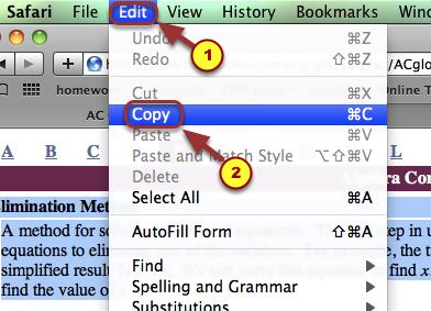 2. Go to your browser's top menu bar.  Select Edit --> Copy.