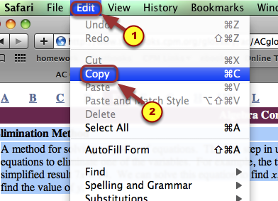 2. Go to your browser's top menu bar.  Select Edit --> Copy.