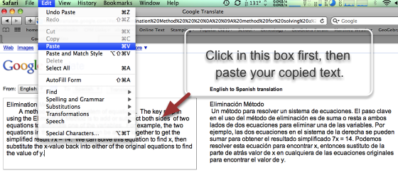 5. Finally, select the white box by clicking it.  Then paste the copied text into the box.
