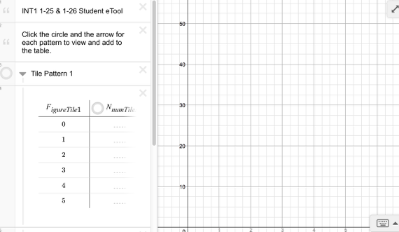 Int1 1-25 & 1-26 Tile Patterns 1-4 Graphs: