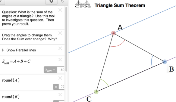 """How does """"Show Parallel Lines"""" help when determining the sum of the interior angles of a triangle?"""
