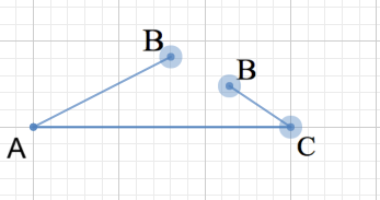 Drag the B handles until they form a vertex of a triangle if possible.