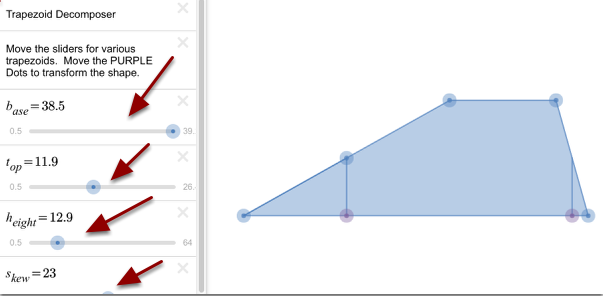 Modify the trapezoids with the sliders below.