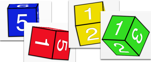 Click each number cube to roll!