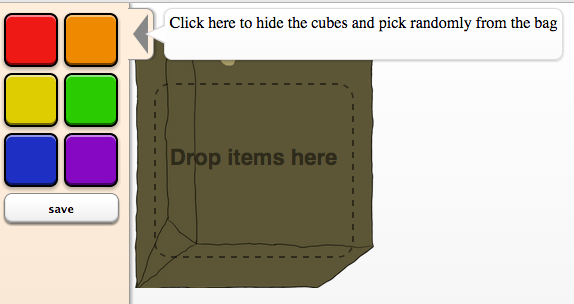 Drag the color cubes into the bag to create the problem.