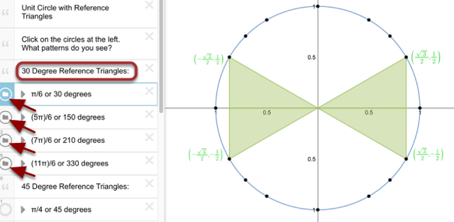 30 Degree Reference Triangles:
