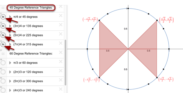 45 Degree Reference Triangles: