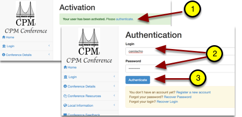 Complete the following steps to authenticate.