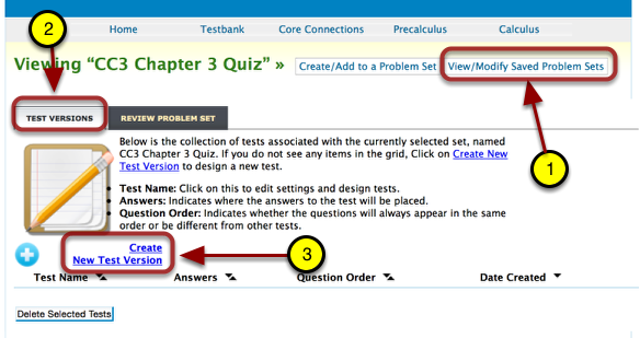 Create a Test from a saved problem set.