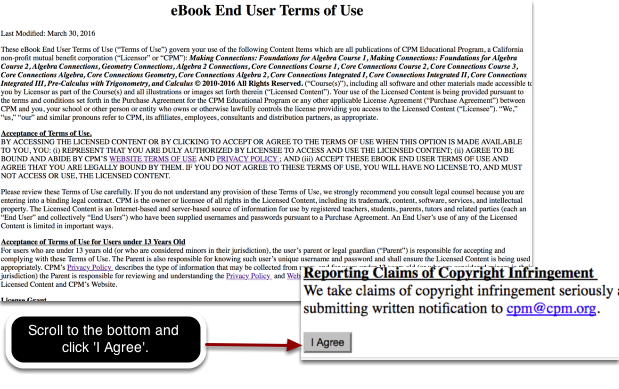 Once you login, you will be taken to your ebook at ebooks.cpm.org. Now complete these steps: