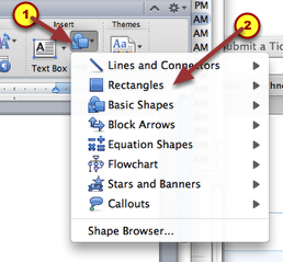 1. Choose insert Shape.  Select the desired shape.  For this tutorial, I selected Rectangles.
