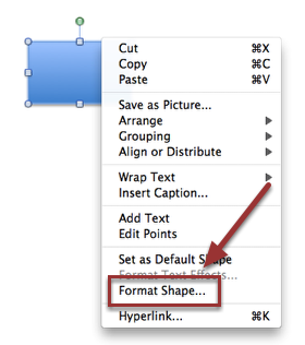3. Right click (control click) on the image.  Select 'Format Shape...'.