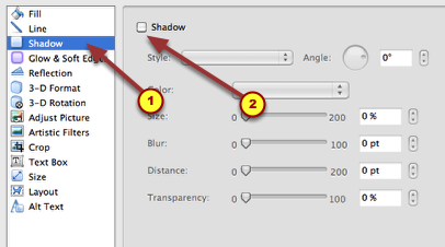 6. Now choose 'Shadow'.  Unclick the Shadow box to eliminate a shadow.