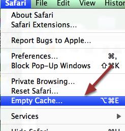 4. EMPTY SAFARI CACHE: Go to the top menu and click on 'Safari' and then 'Empty Cache'.