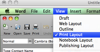 2. In Microsoft Word, go to View --> Print Layout