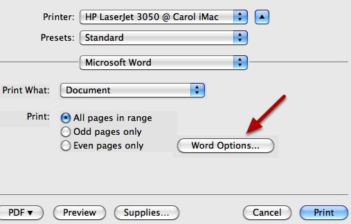 "Click ""Word Options""."
