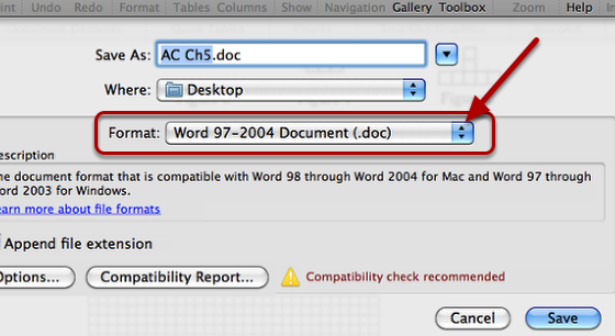 1. Go to file --> Save.  Click on the Format drop down list.