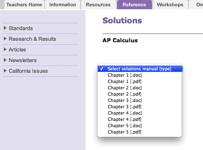 3. The Calculus Solutions Manual can be located from the CPM Assessment Site.  But once you get in, you can give the link to your students if you desire.