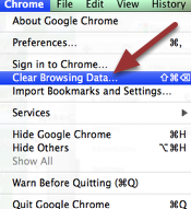 EMPTY CHROME CACHE: Go to the top menu and click on 'Chrome' and then 'Clear Browsing Data'.