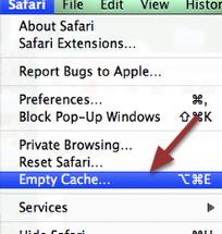EMPTY SAFARI CACHE: Go to the top menu and click on 'Safari' and then 'Empty Cache'.