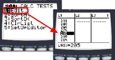 Enter Data in L1 of [Stat]