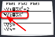 """To change the """"look"""" of the function, select the symbol in front of the Y=. Then press [Enter] to go through the list of options."""