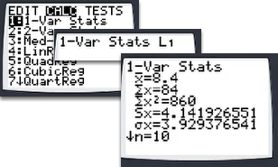 "To view the items in the summary, go to: [STAT] ""Calc"" ""1: 1-Var Stats"" [ENTER].  Use the arrow keys to scroll down."