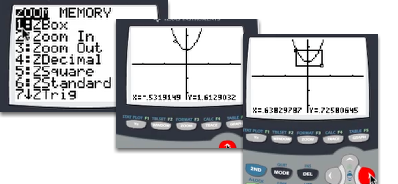"""Use [ZOOM] """"1: ZBox"""" to zoom to a particular part of the graph."""