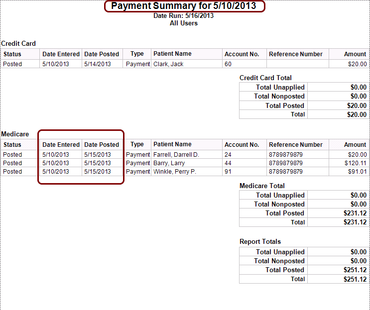 Payment Summary for Remit Posting