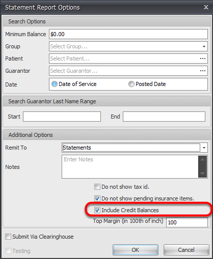 Include Patients with Credit Balance in Statement Processing Options