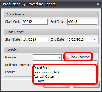 Provider list for Production By Procedure Report