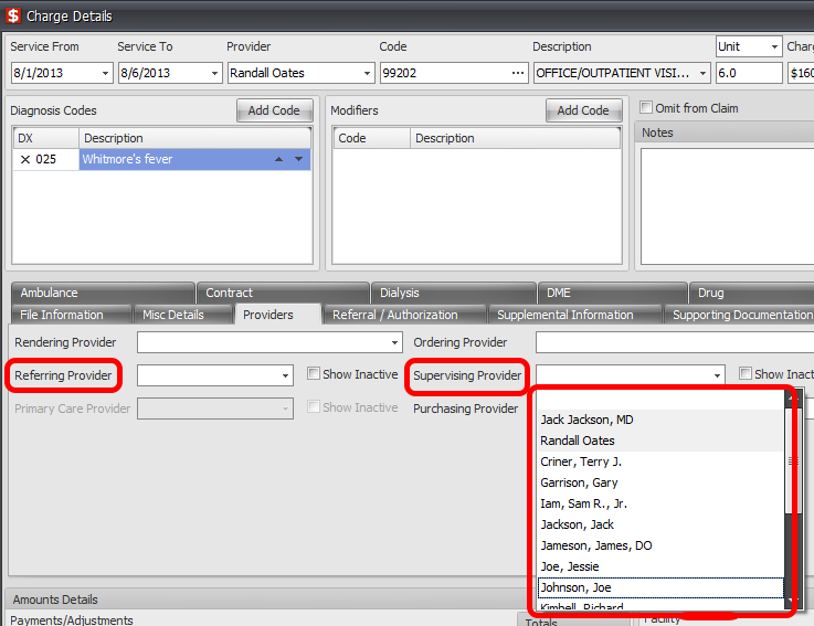 Charge Details->Providers Tab->Referring Provider and Supervising Provider only lists Active Contacts