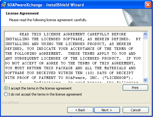 License Agreement - Click I Accept and Next