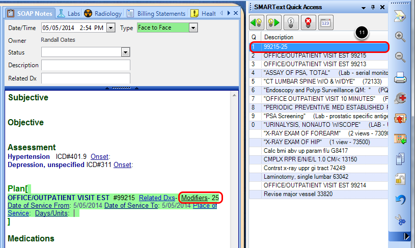 Insert Edited Item into Plan Section using SMARText Quick Access