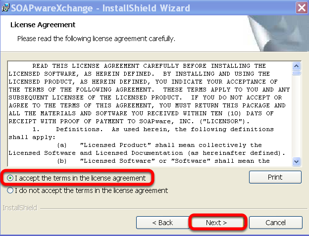 License Agreement - Read and choose to Accept the terms