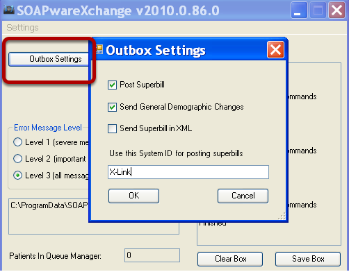 Technical Setup of SOAPwareXchange - Outbox Settings