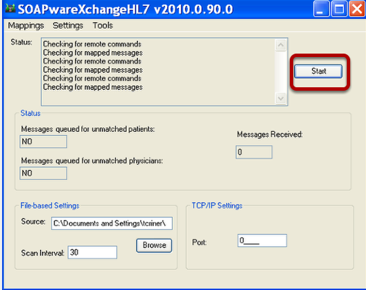 Ensure the SOAPwareXchangeHL7 is Open and Started