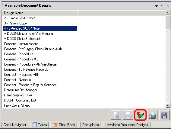 Send to myHEALTHware in Available Document Designs