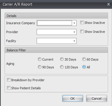 A/R Carrier Report Filters Added