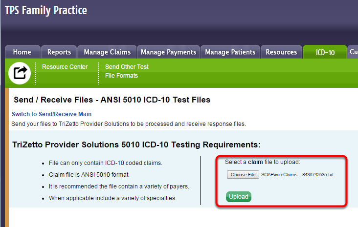 Upload Test Claims File