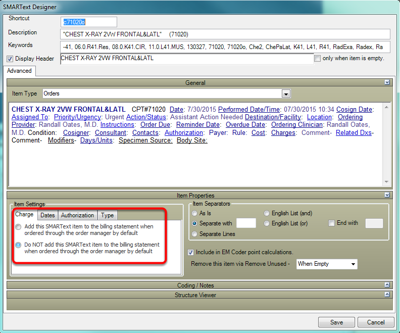 Default Billing Statement Settings for Orders and Immunizations