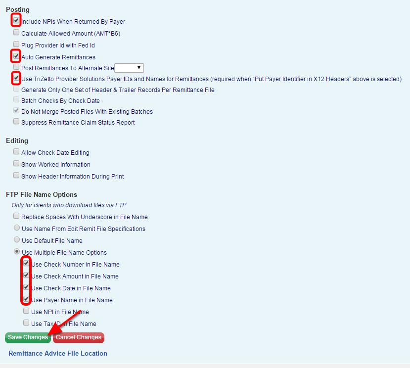 Trizetto/Gateway EDI Remittance File Settings