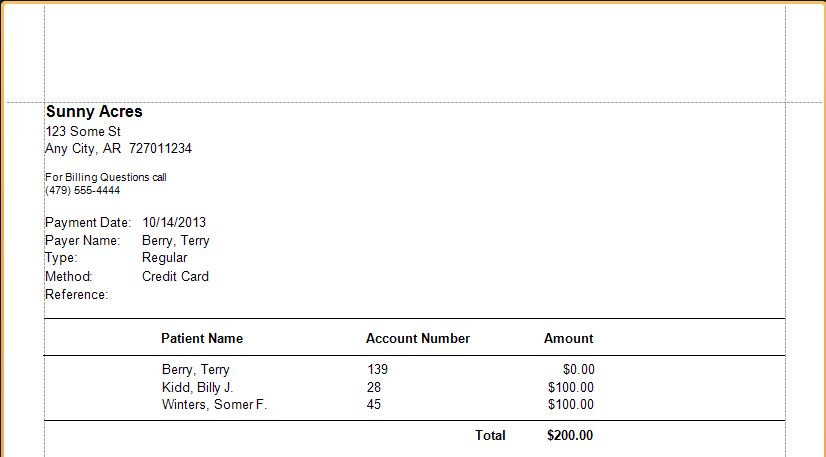 Print a receipt for personal payment made in patient ledger