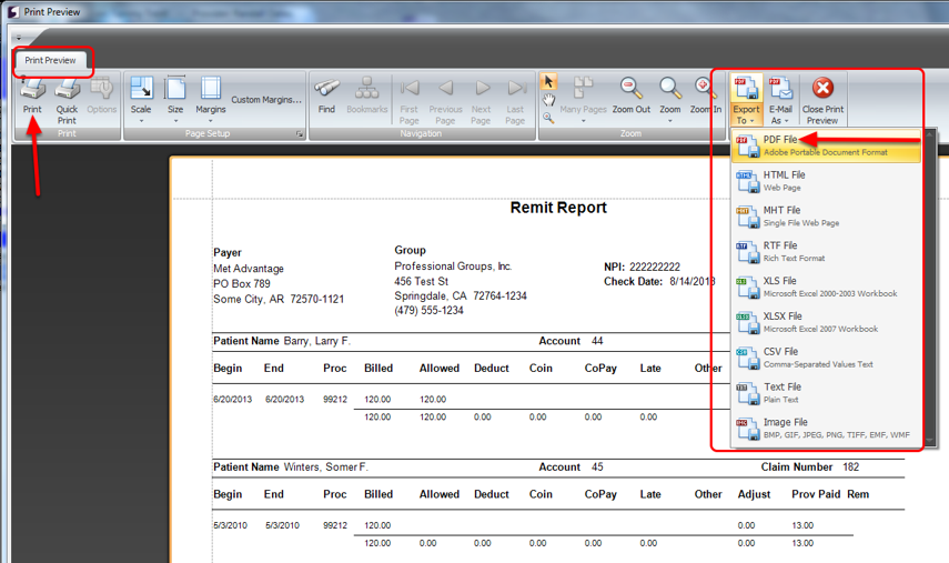 Review, Print or Save Remit Report