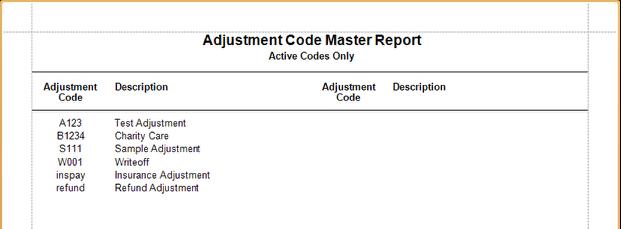 Adjustment Code Master Sample