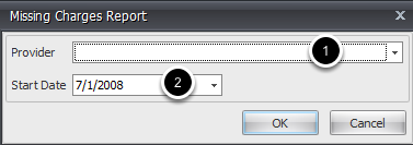 Missed Charges Report Options