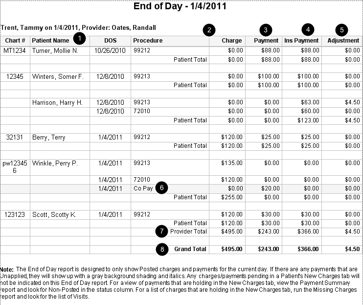 End of Day Report Sample